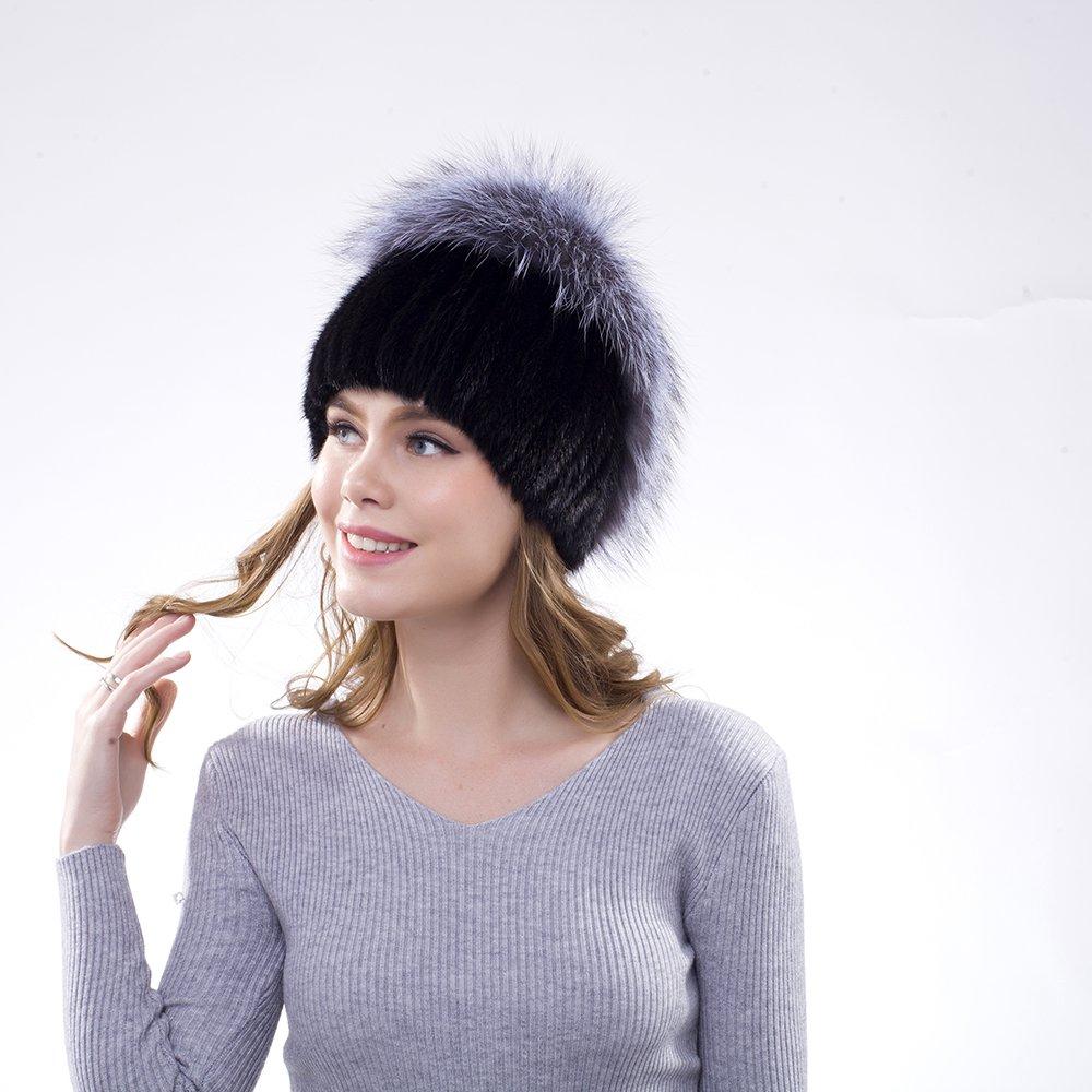 JKP Womens Warm Knitted Real Mink Fur Hats Fox Fur Skull Caps