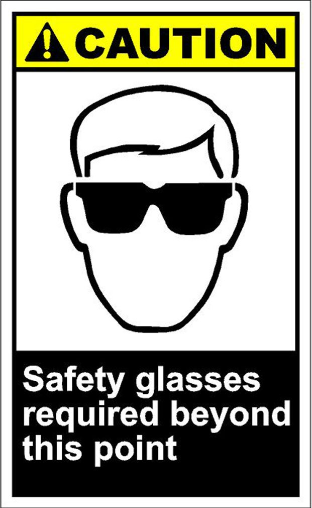 Safety Glasses Required Beyond This Point Caution OSHA / ANSI METAL Sign 9 in x 12 in