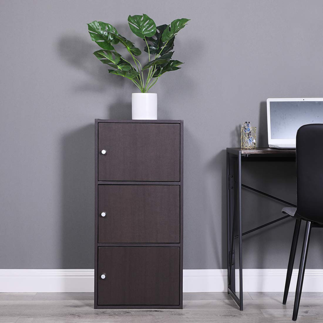 Multifunctional Storage-Cabinet with 3 Magnetic Doors Classic Modern Bookcase Home Office Vertical File Cabinets, Espresso Brown-CAS011 by Coavas (Image #6)