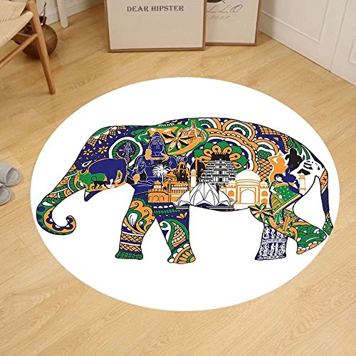 Gzhihine Custom round floor mat Elephants Decor Elephant Carved Gold Paint On Door Thai Temple Spirituality Statue Classic Bedroom Living Room Dorm Decor by Gzhihine