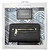 Rebecca Minkoff Regan Universal Designer Clutch Wristlet Case M.A.B. [Protective] Fits iPhones,Androids, LG, HTC~Black Leather With Portable Power Bank (2500 mAh) - Black