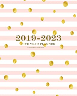 2019 2023 stripes and polka dots five year planner 60 months planner and calendar