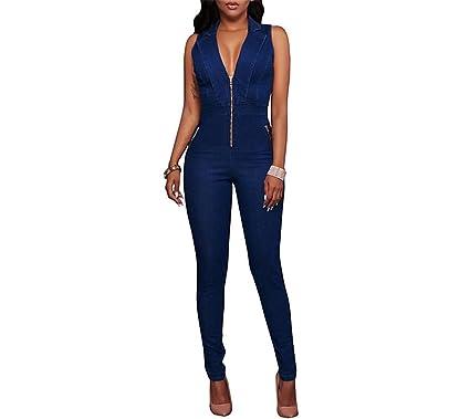 2c9090db602 Amazon.com  Women Jeans Jumpsuit Denim Long Pants Sexy Deep V Neck Slim Overalls  Jumpsuit Girl Sleeveless Club Wear Bodysuit Romper  Clothing