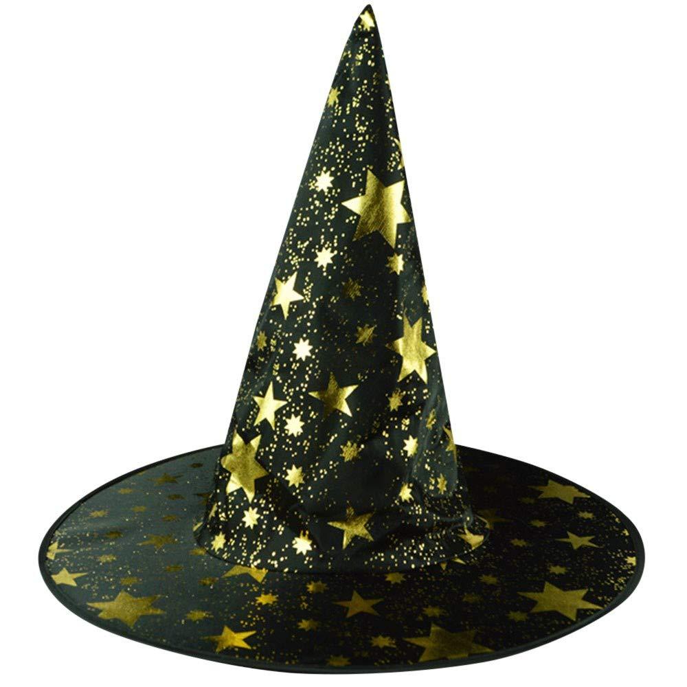 Amazon.com  Halloween Hats for Adults Witch Hats Bulk Stars Printed Cap Halloween  Caps (Black)  Clothing eaa36abd1e9