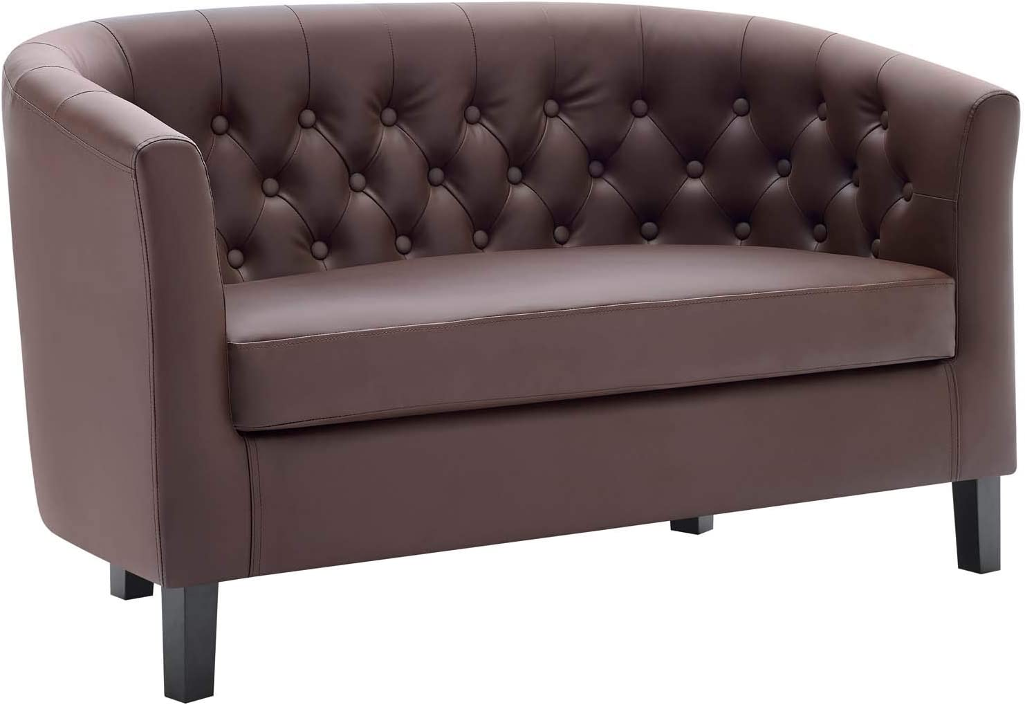 Modway Prospect Upholstered Contemporary Modern Loveseat In Brown Faux Leather