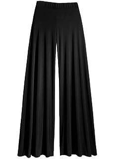 Womens Wide Leg Flattering High Waist Stretch Palazzo Polka Dot on Black XXL