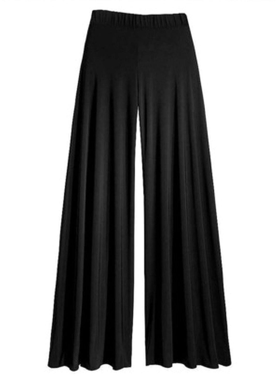 Womens Wide Leg Flattering High Waist Stretch Palazzo Black XXL