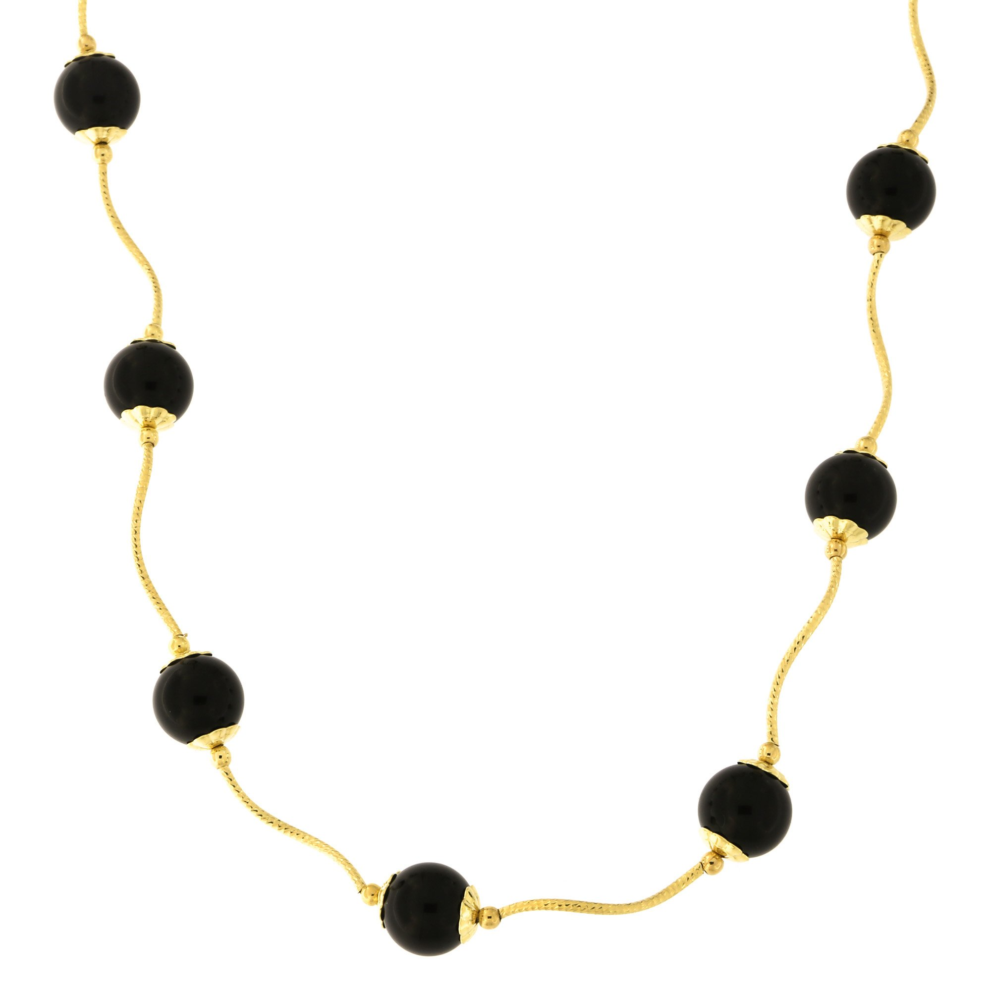 14k Yellow Gold Diamond Cut 8mm Capped Onyx Station Necklace, 18 inches
