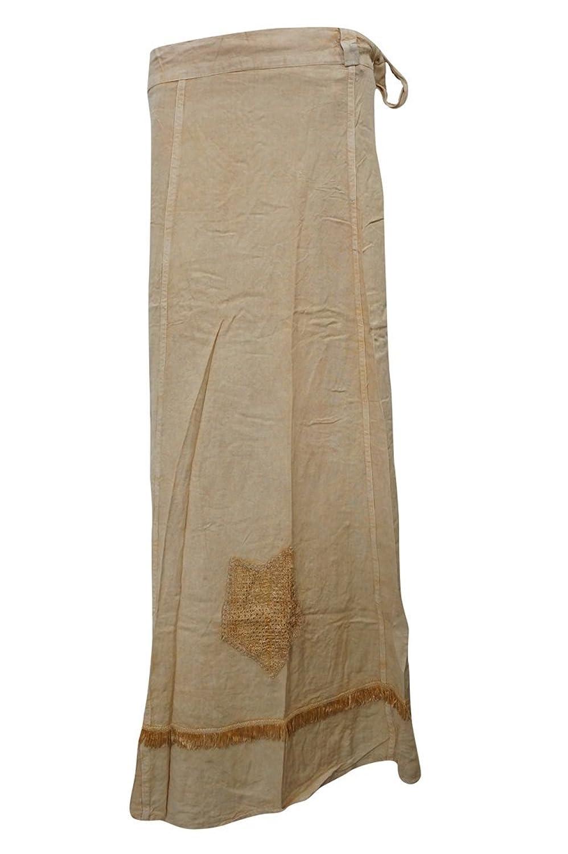 Mogul Interior Women's Wrap Skirts Beige Emboidered Stylish Long Skirts XL