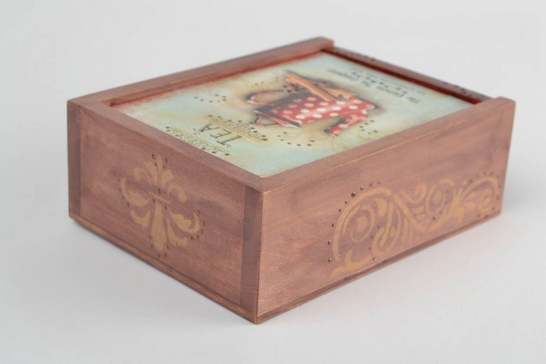 Caja de te decorada segun la tecnica de decoupage hecha a mano de madera: Amazon.es: Hogar