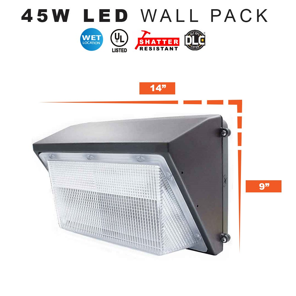 LED Wall Pack Security Light, 45 Watts Replaces 175MH - 4500 Lumens, 5000K, Commercial Grade, UL & DLC