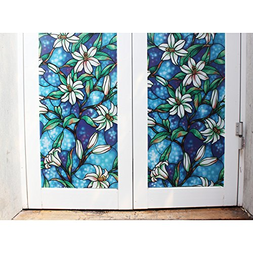 Fancy fix vinyl static cling blue orchid privacy stained for Decorative stained glass windows