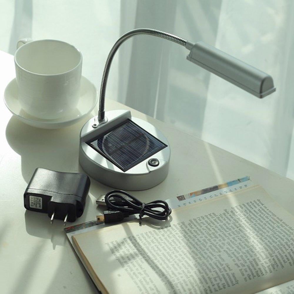 ELINKUME Solar USB Powered 4-LEDs Solar LED Tischleuchte Super Bright Light Flexible 24LM Table Lamp Silver [Energieklasse A+++]