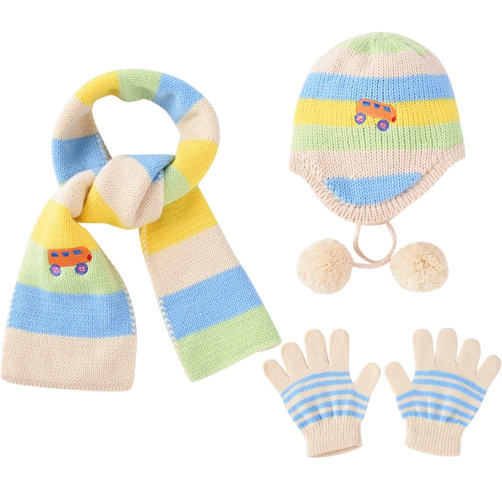 f2e0401e21e5 VBIGER Enfants Bonnet Tricoté Écharpe Épais Tour De Cou Avec Double polaire  pour Garçons et Filles,2 Pièces