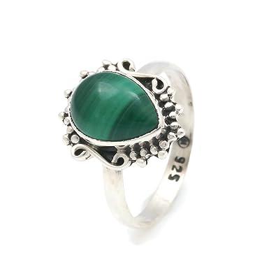 Ring Silber 925 Sterlingsilber Malachit grün Stein