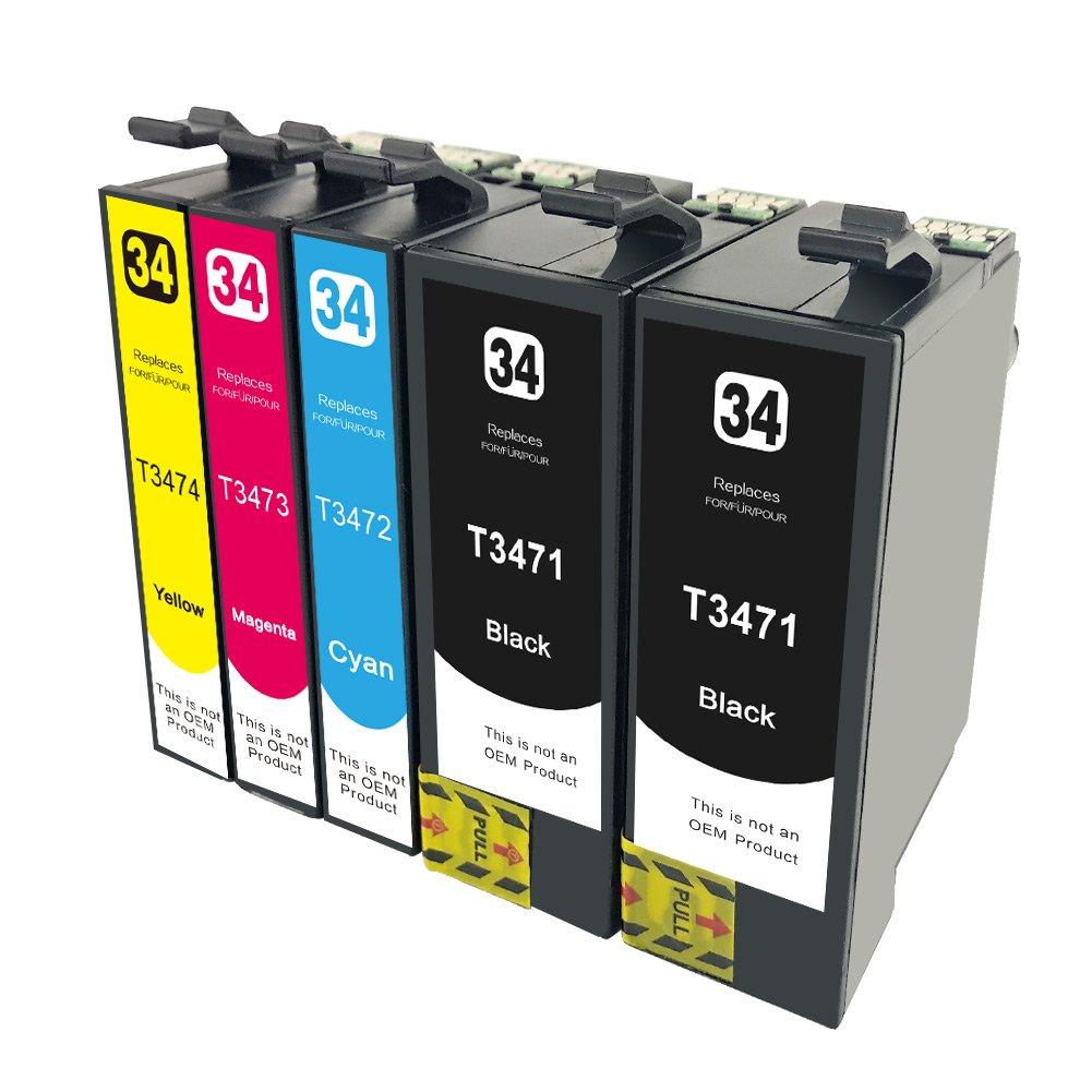 civoprint Envase de 5 Tinta Cartuchos de Tinta 5 Compatibles para Epson 34 X L 34 XL t3471 t3472 t3473 t3474 para impresoras Epson Workforce Pro wf-3720dwf, wf-3725dwf (2BK/1 °C, 1 m (s) 1fcebc