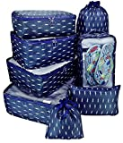 8 Set Travel organizers Packing Сubes Luggage Accessories Сlothes Shoes Bag (Navy features)
