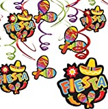 "To get that fiesta vibe in the air, just hang these hanging swirls! Fiesta Hanging Swirl Decorations feature two-sided ""Fiesta"" and maraca cutouts attached to shiny foil swirls. These bright green, purple, and red ceiling decorations are perf..."