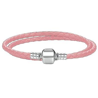 572e942c7 Charm Buddy 42cm / 21cm Womens Double Wrap Braided Leather Charm Bracelet  with Gift Box (1. Pink): Amazon.co.uk: Jewellery