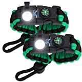 Nexfinity One Survival Paracord Bracelet - Tactical Emergency Gear Kit with SOS LED Light, Knife, 550 Grade, Adjustable, Multitools, Fire Starter, Compass, and Whistle - Set of 2