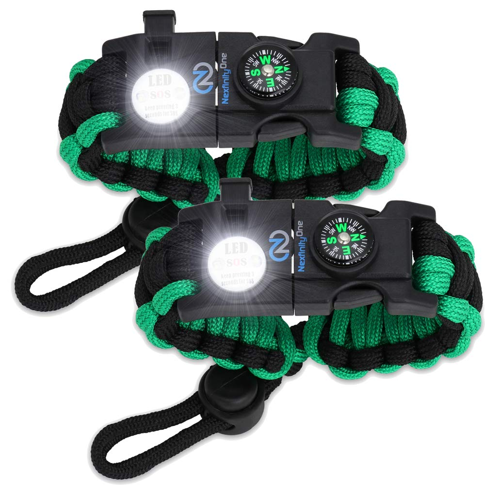 Nexfinity One Survival Paracord Bracelet - Tactical Emergency Gear Kit with SOS LED Light, Knife, 550 Grade, Adjustable, Multitools, Firestarter, Compass, and Whistle - Set of 2 Green