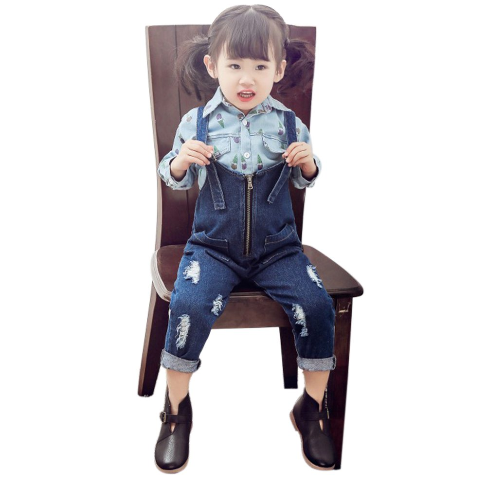 Girl's Denim Overalls Jeans Fashion Zipper Kids Ripped Cowboy Suspender Alician