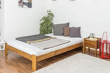 Cama futón madera de pino maciza en color de roble A10, incl ...