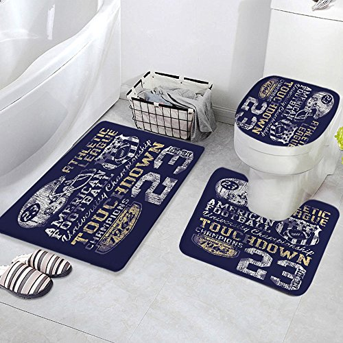3 Piece Bath Mat Rug Set,Sports,Bathroom Non-Slip Floor Mat,Retro-American-Football-College-Illustration-Athletic-Championship-Apparel-Decorative,Pedestal Rug + Lid Toilet Cover + Bath Mat,Purple-Whit by iPrint (Image #2)