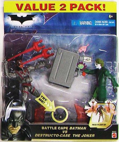 Dark Knight Battle Cape (The Dark Knight - 2008 - Batman - Battle Cape Batman vs Destructo-Case The Joker - Value 2 Pack - Cape Lights Up - Limited Edition - Mint - Collectible)
