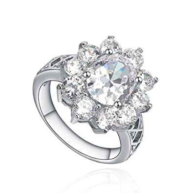 7f46d2fb1 Stainless Steel Sunflower Oval and Round Cubic Zircona CZ Womens Engagement  Wedding Band Ring (Silver Color) G5010JY114, UK Size Z+3: Amazon.co.uk: ...