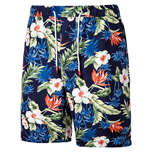 MIS1950s Swim Trunks Men's Quick Dry Long Elastic Waistband Swimwear Bathing Suits with Pockets Printed Summer Beach Shorts Boardshorts for Men