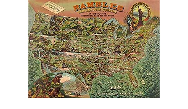 Amazon com: Game board with map of America 1890 Poster Print