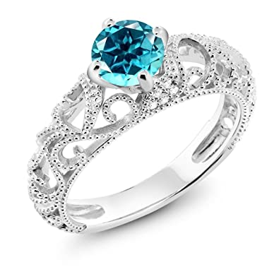25684fa99 925 Sterling Silver Ring Set with Round Paraiba Topaz from Swarovski (Size  6)