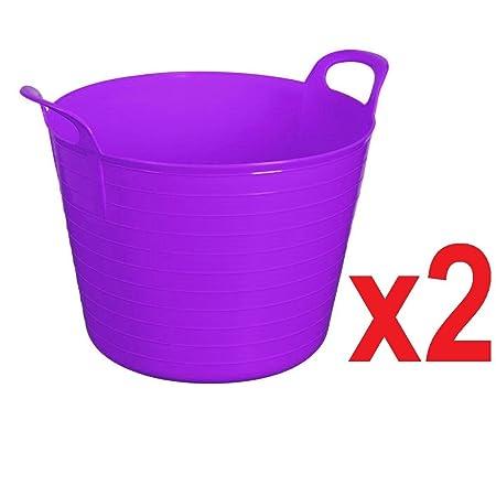 MADE IN U.K. 2 x LIME GREEN 42 Litre Large Flexi Tub Garden Home Flexible Colour Rubber Storage Container Bucket Polyethylene Flex Tub