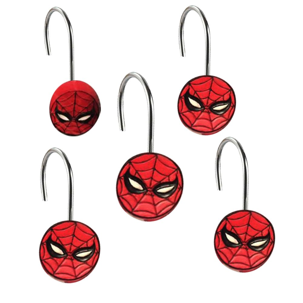 Amazon.com: Spiderman Shower Curtain Hooks : Shower Curtin Rings Set ...