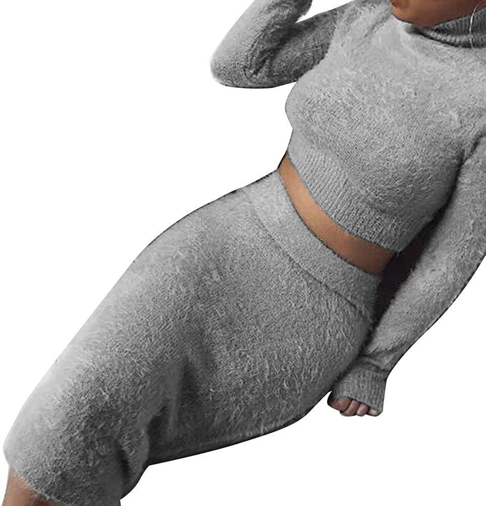 2Pcs Chic Women Solid Color Plush O Neck Long Sleeve Knitted Crop Top Skirt Set J1Autumn Winter Warm Fashion for Girlfriend Family FeiyanfyQ Sweater