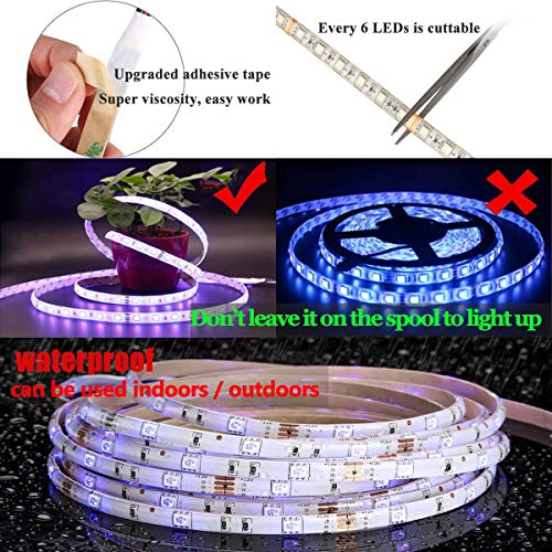 YIPBOWPT Led Strip Light Waterproof 32.8ft RGB SMD 5050 600leds Led Rope Light Color Changing Full Kit with 44 Keys IR Remote Control+24V Power Supply Led Lighting for Kitchen Indoor by YIPBOWPT (Image #5)