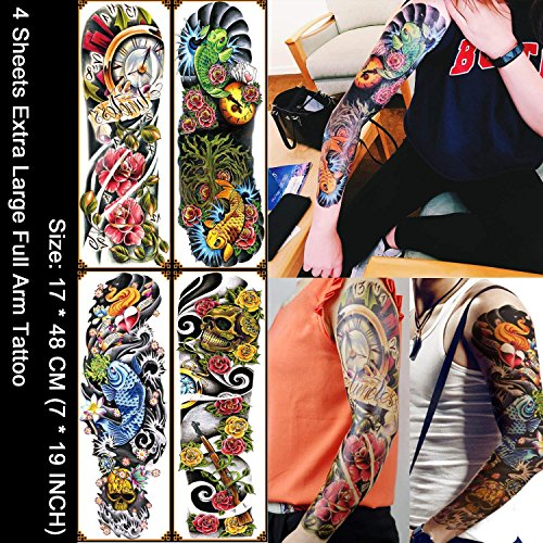 Kotbs 4 Sheets Extra Large Full Arm Temporary Tattoo Waterproof Tattoos Sticker for Men Women Makeup Body Art Fake Tattoo Sleeves Designs