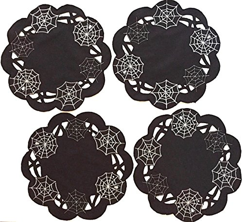Black Silver White Embroidered Spider Web Halloween Placemats, Set of 4