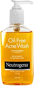 Neutrogena Oil Free Acne Facial Cleanser with Salicylic Acid Acne Treatment Medicine and Vitamin C, Acne Fighting Cleansing Face Wash for Acne Prone Skin, with Salicylic Acid, 6 fl. oz (Pack of 2)