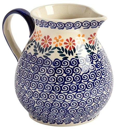 """y Flowers Water Drink Pitcher, Ceramika Wiza Boleslawiec, 5.5""""L x 5""""W x 6""""H (43-oz. Capacity) (Large Ceramic Pitcher)"""
