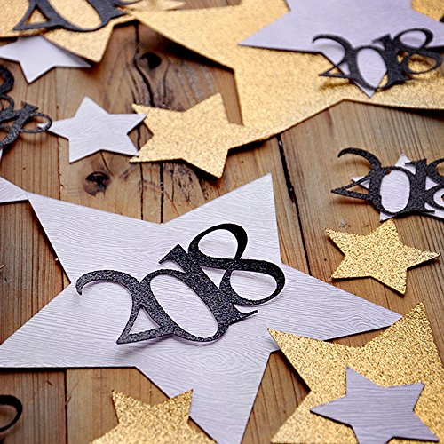 New Years Eve Decorations. Glitter Gold and Woodgrain Jumbo Star Confetti with 2018. NYE Confetti Mix for -
