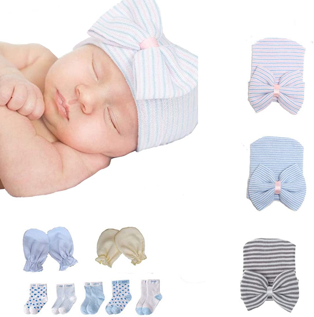 Newborn Hospital Hat and Mitten Set Infant Toddler Baby Beanie Caps with Bow Soft Cute Comfortable Suit for Boys Girls