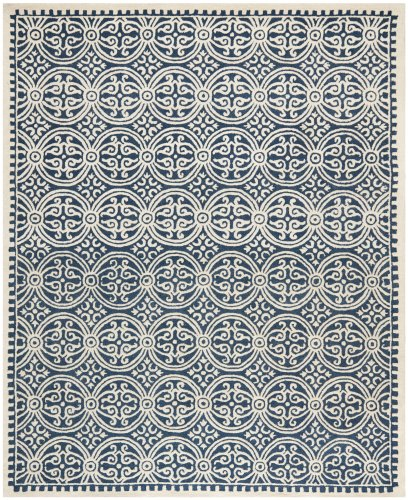 (Safavieh Cambridge Collection CAM123G Handcrafted Moroccan Geometric Navy Blue and Ivory Premium Wool Area Rug (9' x 12'))
