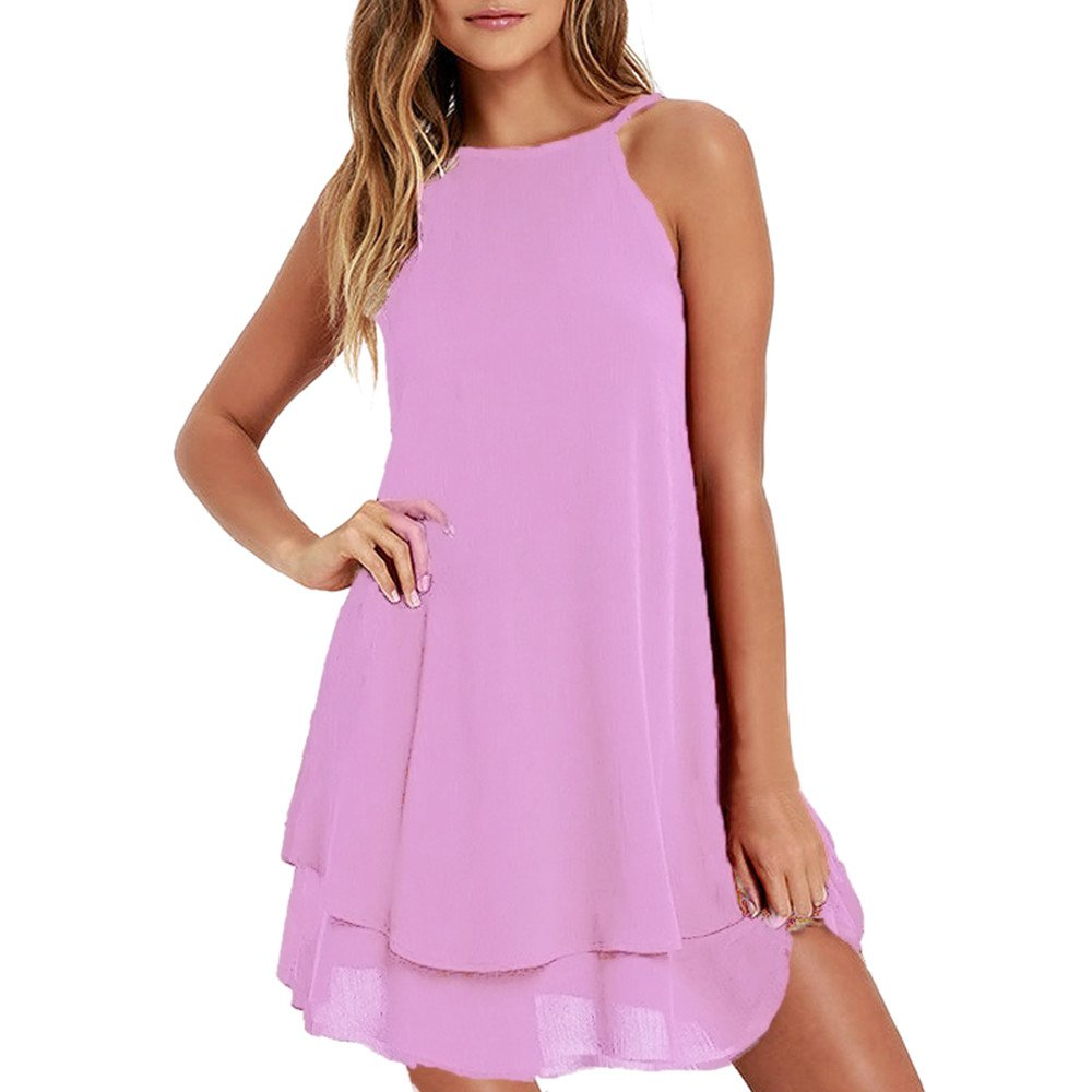 Women's Casual Solid Strappy Short Mini Dress Summer Loose Sleeveless A-Line Tank Dresses Beach Party Sundress Pink