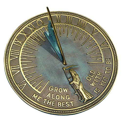 Rome RM2345 Brass Father Time Sundial with Verdigris Highlights (Sundial Father Time)
