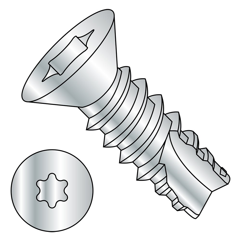 Steel Thread Cutting Screw, Zinc Plated, 82 Degree Flat Head, Star Drive, Type 25, #4-24 Thread Size, 3/8' Length (Pack of 100) 3/8 Length (Pack of 100) Small Parts 04065TF