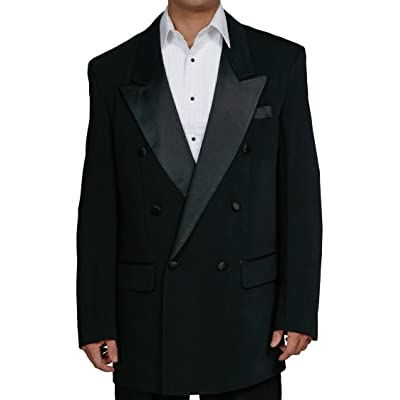New Men's Black Double Breasted Tuxedo Suit with Jacket and Pants at Amazon Men's Clothing store