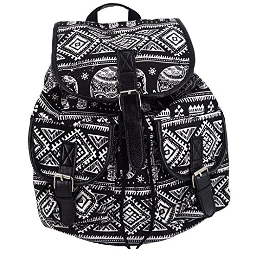 (Women Girls Ethnic Style Canvas Drawstring Bag Floral Printing Backpack School Rucksack(Black))