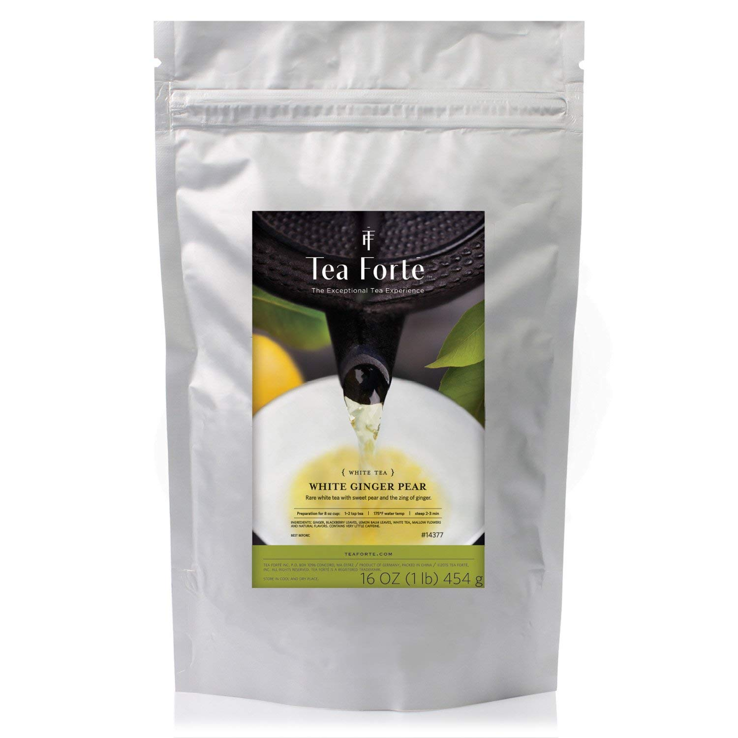 Tea Forté ONE POUND POUCH, Loose Bulk Tea - White Ginger Pear White Tea by Tea Forte